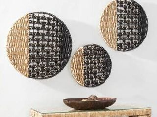 The Curated Nomad Terraza 2 tone Woven Water Hyacinth Wall Decor  Set of 3  Retail 101 99