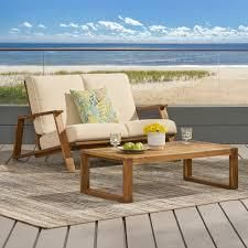 Paloma Outdoor Acacia Wood loveseat Set with Coffee Table by Christopher Knight Home  Retail 385 49