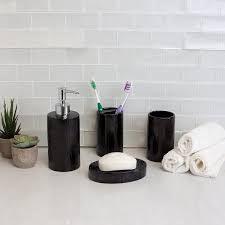 4 Piece High Gloss Textured Ceramic Modern Bath Accessory Set  Black
