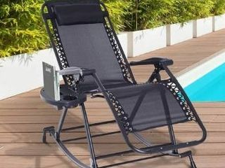 Pindel Black Folding Zero Gravity lounge Chair with Cup Holder by Havenside Home  Retail 87 99