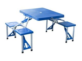 Outsunny Blue Aluminum Portable Folding Outdoor Camp Suitcase Picnic Table with 4 Seats
