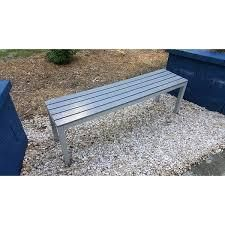 Knotts large Silver  Slate Grey Aluminum Outdoor Bench in Poly Wood by Havenside Home  Retail 153 32