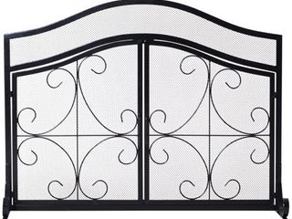 HomCom Safety Fireplace Screen Protector  Decorative Scroll  2 Door  Steel  Black   Retail 79 98