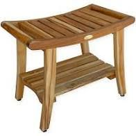 24  EcoDecors EarthyTeak Harmony Solid Teak Shower Bench with Shelf and liftAide Arms in EarthyTeak Finish  Retail 179 95