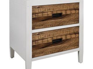 Montana White lacquer   Natural Sengon Nightstand  Retail 330 56