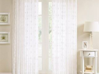 63 x50  Vera Sheer Embroidered Window Panel White