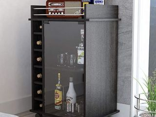 Dukat Glass Door Bar Cart in Dark Grey