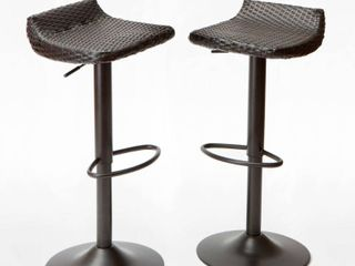 Deco 2pk All  Weather Wicker Patio Barstool Set   Brown