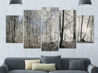 Designart Dark Morning In Forest Panoramic Canvases  7 Panels 12x31 5  Each
