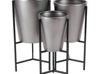 Set of 3 Contemporary Iron Cone Shaped Planters with Stand Black Gray   Olivia  amp  May  24  26  28  High