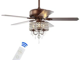 Becky 52  3 light Crystal lED Chandelier Fan With Remote  Oil Rubbed Bronze by JONATHAN Y