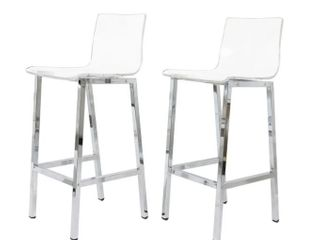 Acrylic Bar Stool  Set Of 2  Chrome Finish