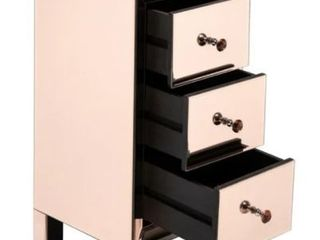 32  Modern Mirrored Nightstand Bedside Table Rose with 3 Drawers