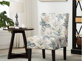 Roundhill Capa Print Fabric Armless Contemporary Accent Chair  Blue leaves