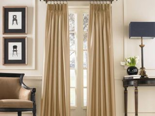 Set Of 2 Marquee Faux Silk Pinch Pleat Curtain Panel
