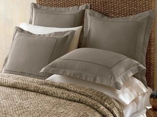 Cotton and linen Blend Hemstitch Sham  Set Of 2
