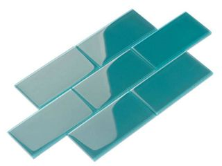 Dark Teal Glass Subway 6 x3  Square Foot Tiles  Unknown Number Of Tile