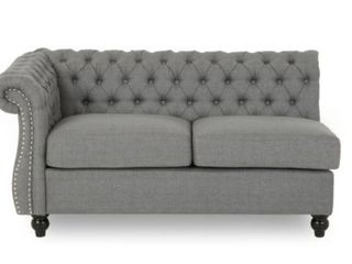 Amberside Fabric Tufted Corner Couch Gray