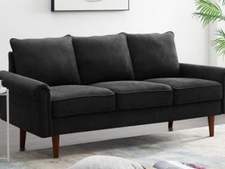 Standard Sofa Home living Room 3 Seater Wooden Frame Couch Black