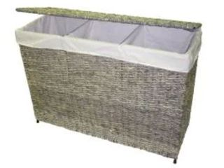 America Basket Company Woven Maize 3 Section lined Hamper  Retail 148 49