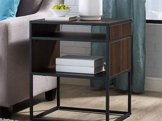 20  Metal and Wood Side Table with Open Shelf   Dark Walnut