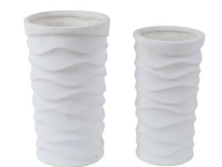 Winsome House  White Tall Wavy Composite Planters  2 Piece