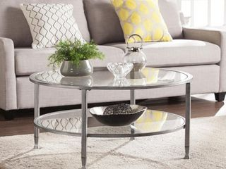 Jaymes Metal Glass Round Cocktail Table   Silver 33 5  Wide