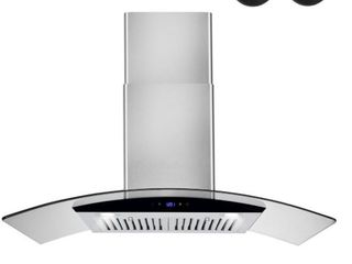 AKDY 36 in  Convertible Kitchen Wall Mount Range Hood in Stainless Steel with Black Tempered Glass and Touch Controls