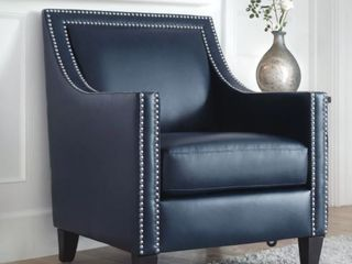 Copper Grove Rab leather Nailhead Armchair Grey