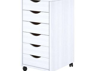 Adeptus Solid Wood 6 Drawer Roll Cart   White  Retail 77 48  Top Is Broken In Half
