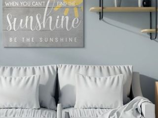 Stupell Industries Be The Sunshine Positivity Phrase Charming Sign Canvas Wall Art 36  x 48