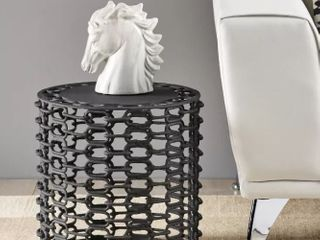 Fenelon Modern Aluminum Accent Table Black Textured  by Christopher Knight