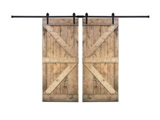 Paneled Wood Painted Double Barn Door DK Series  Set of 2
