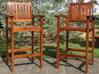 International Caravan Highland Set Of 2 Bar Height Chairs  Retail 324 49