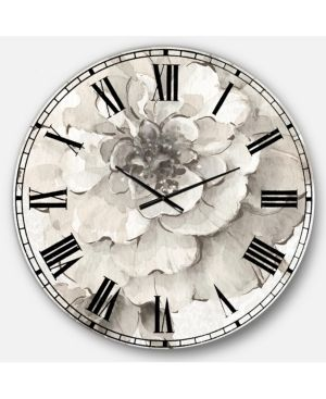Designart  Indigold Grey Peonies I  Farmhouse large Wall Clock  Retail 165 49