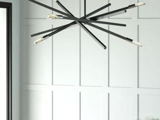 Hinkley Archer 6 light Sputnik Modern linear Chandelier  Satin Black   Retail  333 67
