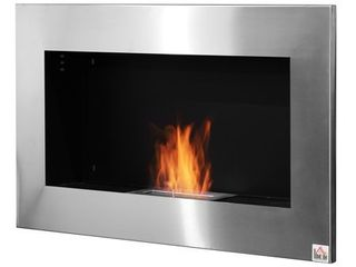 HOMCOM 35 5  Contemporary Wall Mounted Ventless Indoor Bio Ethanol Fireplace   Stainless Steel   Retail 149 99