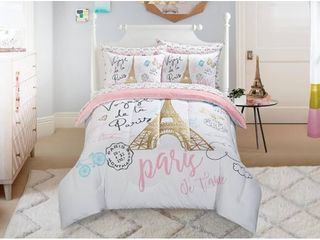 Mainstays Kids Paris Bed in a Bag Bedding w  Reversible Comforter Twin