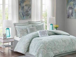 8pc King Gale Comforter Set Blue Gray