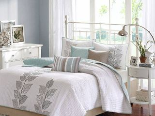 Blue Marissa Quilted Coverlet Set King 6pc