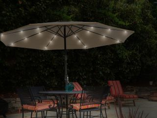 50 lG1175 Patio Umbrella 10 ft  Pool   Deck Shade with Solar Powered lED lights   Sand