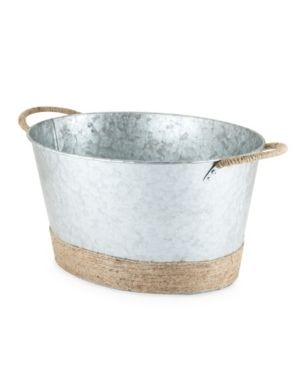 Seaside  Jute Rope Wrapped Galvanized Tub by Twine