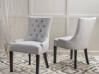 Hayden Tufted Dining Chair Set  Set of 2  by Christopher Knight Home   light Grey