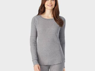 Warm Essentials by Cuddl Duds Women s Waffle Thermal Scoop Neck Top   Gray M