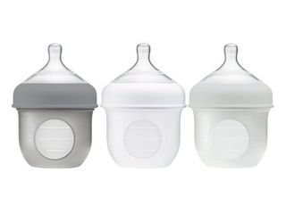 Boon Nursh Reusable Silicone Pouch Baby Bottle  Air Free Feeding  Gray Multi Pack  4 Oz  3 Pk
