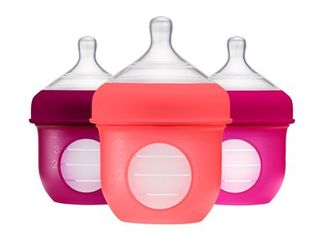 Boon Nursh Reusable Silicone Pouch Baby Bottle  Air Free Feeding  Pink Multi Pack 4 Oz 3 Pk