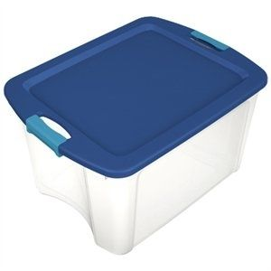 Sterilite 18 Gal latch   Carry Clear with Blue lid and Blue latches   set of 6