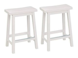 Amazon Basics Classic Spill Wood Saddle Seat with Foot Plate set of 2 White