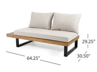 Sebastian Outdoor Acacia Wood Sofa Sectional HAlF PIECE by Christopher Knight Home