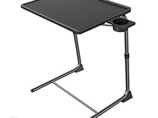 Adjustable TV Tray Table   TV Dinner Tray on Bed   Sofa  Comfortable Folding Table with 6 Height   3 Tilt Angle Adjustments  Black    set of 2
